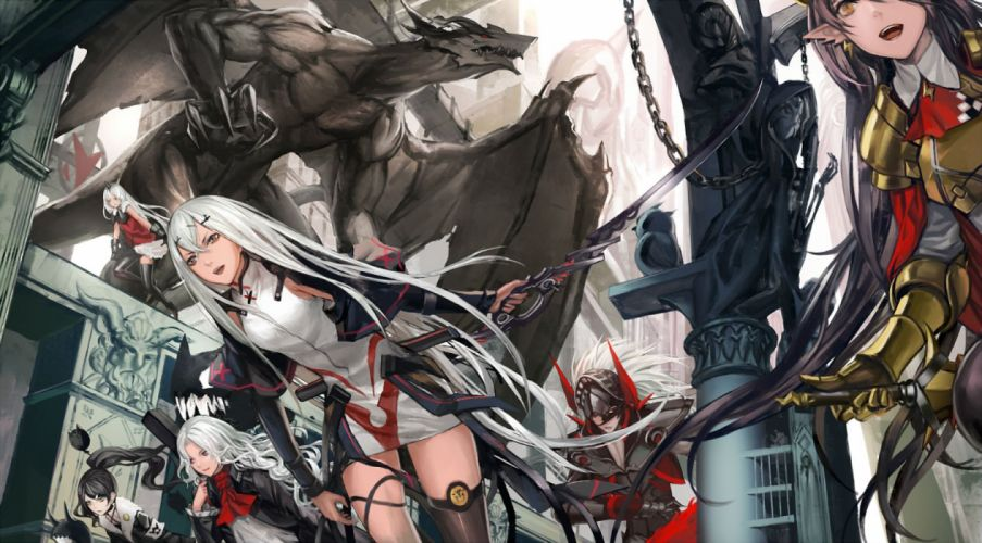 armor black hair chain dragon dress group long hair pixiv fantasia pointed ears ponytail red eyes sword thighhighs weapon white hair zhouran wallpaper