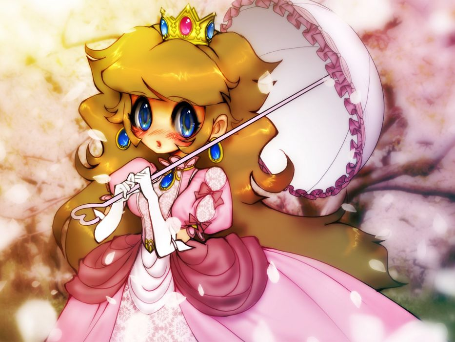 blonde hair blue eyes blush cherry blossoms crown dress elbow gloves flowers long hair nintendo pink princess peach ribbons super mario umbrella wallpaper