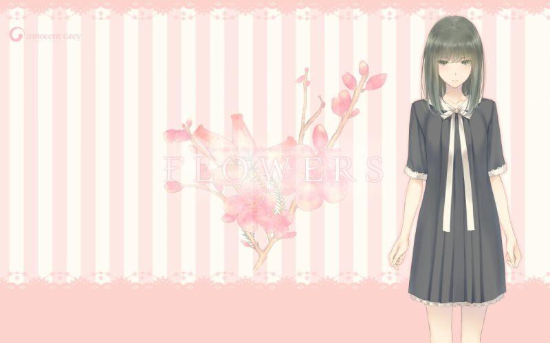 black hair dress flowers (game) innocent grey logo long hair pink seifuku sugina miki takasaki chidori wallpaper