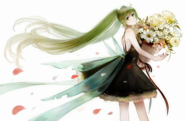 flowers green eyes green hair hatsune miku long hair petals twintails vocaloid white wallpaper