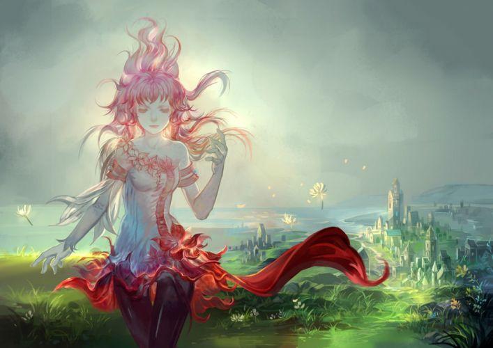 afra city dress flowers grass long hair pantyhose pink hair pixiv fantasia water wallpaper