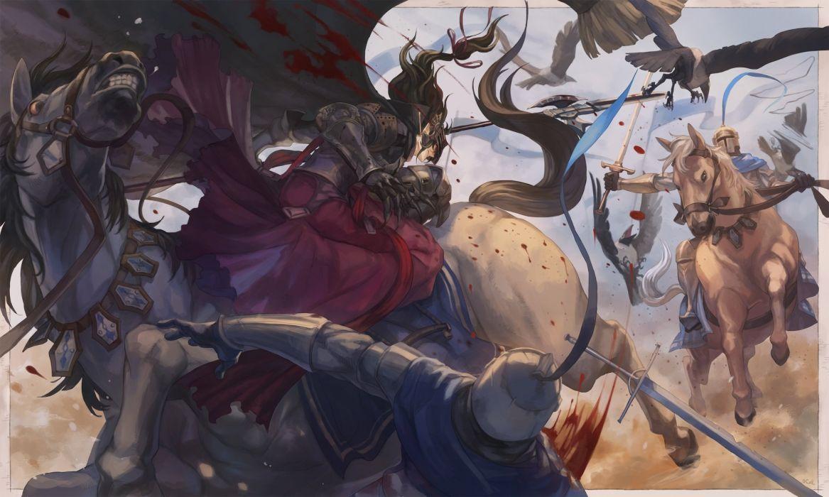animal armor bird blood cape horse male oca pixiv fantasia sword weapon wallpaper