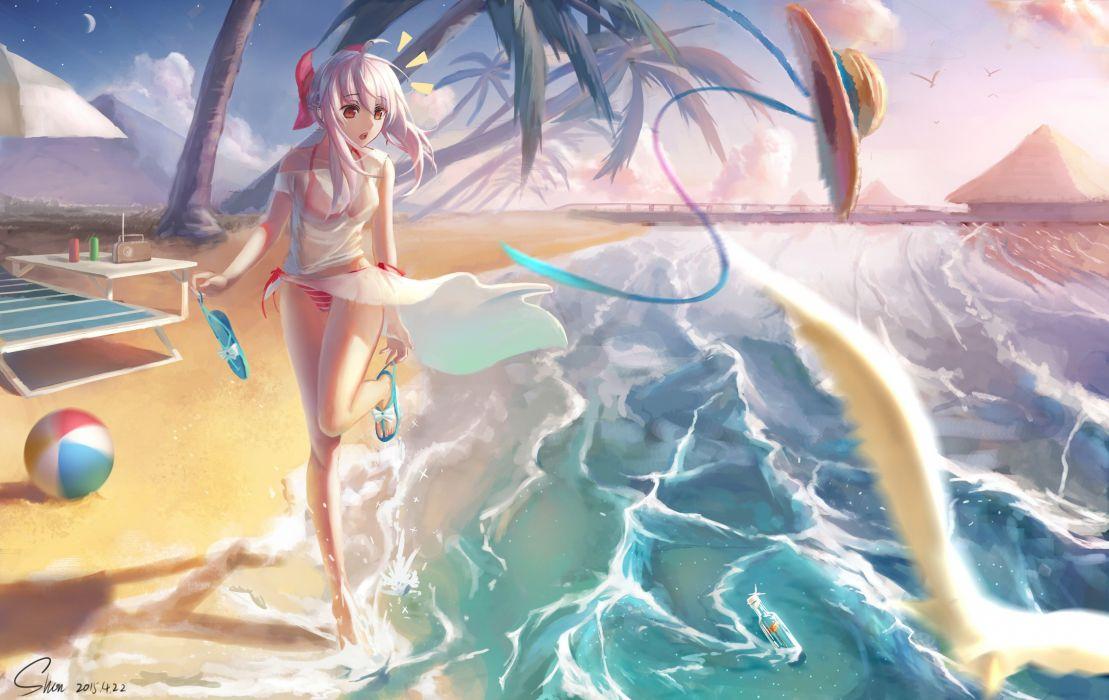 animal beach bikini bird clouds hat hiiragi shinoa jpeg artifacts owari no seraph pink hair red eyes see through shon signed swimsuit tree water wallpaper