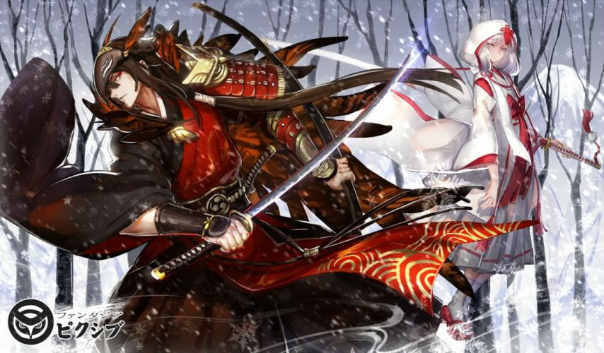 armor brown hair hoodie katana kimono long hair male mask pixiv fantasia ryuuzaki ichi samurai snow socks sword weapon white hair winter wallpaper