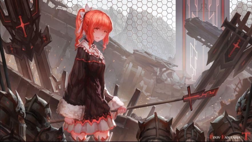 armor group long hair military orange hair pixiv fantasia ponytail red eyes skirt staff sword thighhighs weapon zettai ryouiki zxq wallpaper