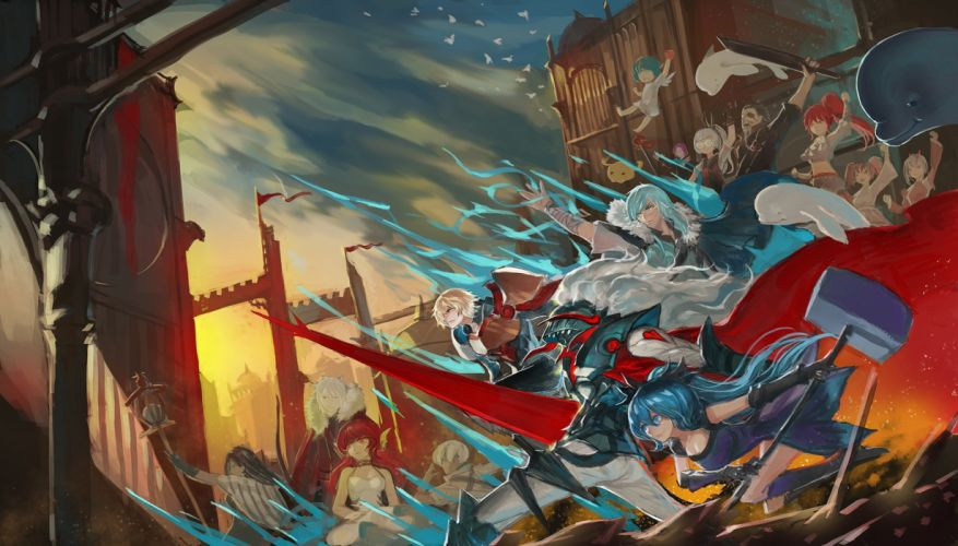 armor bandage blue hair building elbow gloves group katana long hair male pixiv fantasia quaanqin red eyes red hair short hair staff sword weapon wallpaper