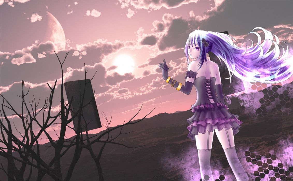 clouds elbow gloves hatsune miku long hair purple eyes purple hair sky stockings tree twintails vocaloid wristwear yusuke wallpaper