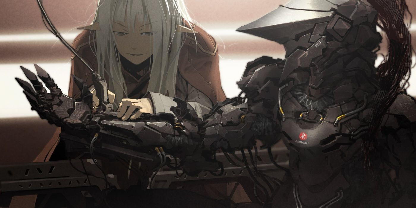 gray hair long hair masariro mecha pixiv fantasia pointed ears robot wallpaper