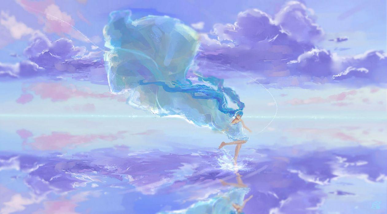 aqua hair barefoot clouds dress hatsune miku long hair mikan 121 twintails vocaloid water wallpaper