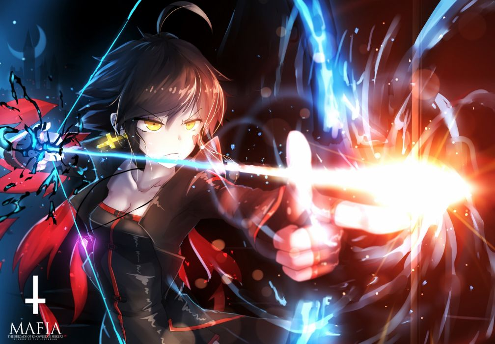 bai yemeng bow (weapon) breasts brown hair cleavage cross fire gloves logo magic moon necklace pixiv fantasia short hair weapon yellow eyes wallpaper