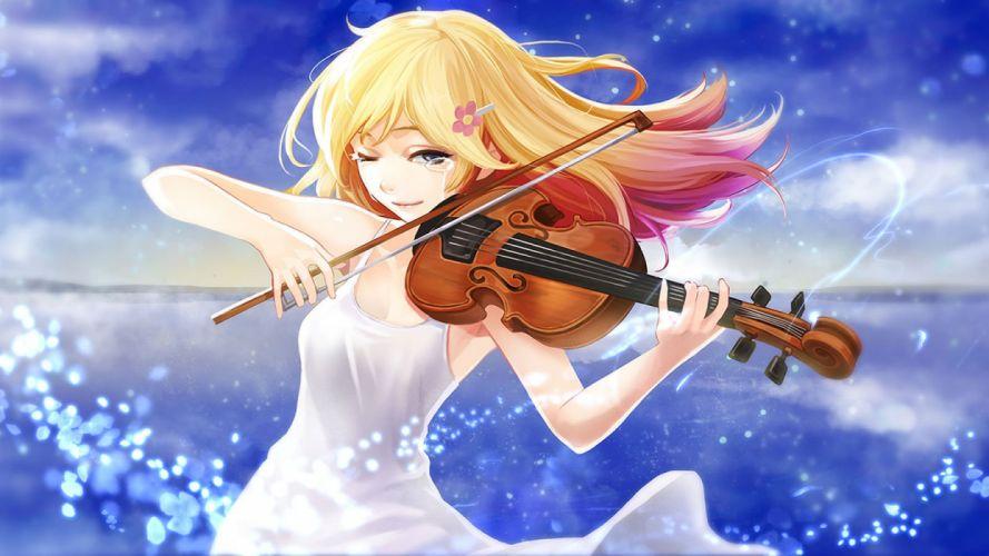 blonde hair clouds dress goomrrat instrument long hair miyazono kawori shigatsu wa kimi no uso sky tears violin wallpaper