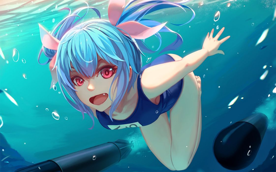 blue hair bubbles fang i-19 (kancolle) kantai collection long hair nian pink eyes ribbons school swimsuit swimsuit underwater water weapon wallpaper