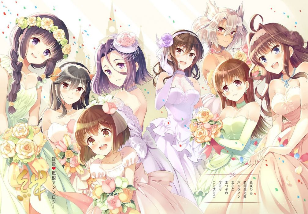 blush braids breasts choker cleavage dress elbow gloves flowers glasses group komi zumiko necklace ooi (kancolle) rose wedding attire wallpaper