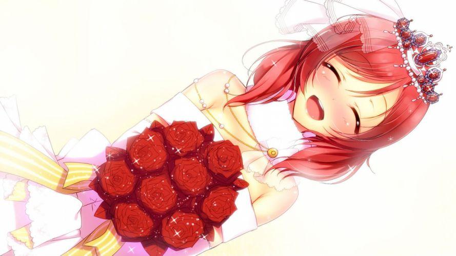 blush dress flowers love live! school idol project nishikino maki red hair rose scarf tiara wedding attire yu-ta wallpaper