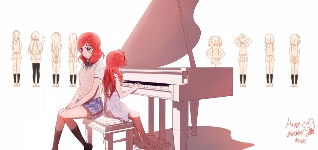 bow dress instrument love live! school idol project nishikino maki piano pink eyes red hair seifuku skirt white wallpaper