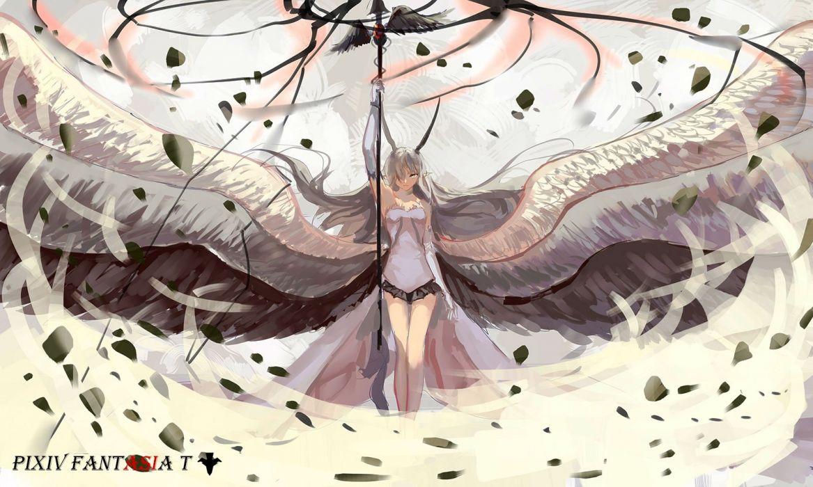 cape elbow gloves horns jpeg artifacts long hair pixiv fantasia pointed ears sishenfan skirt spear weapon wings wallpaper