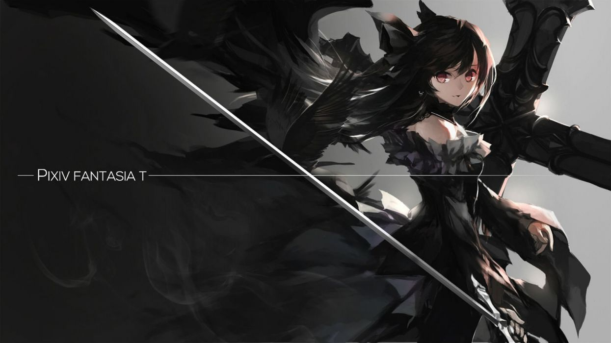 animal bird black black hair choker cross dress goth-loli long hair pixiv fantasia red eyes swd3e2 sword weapon wallpaper
