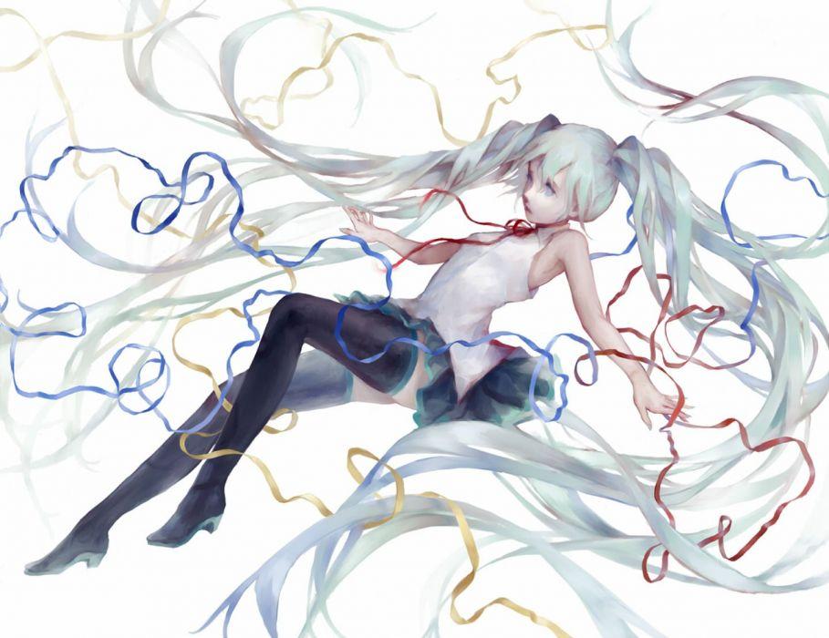 blue eyes blue hair boots hatsune miku long hair reina343 ribbons skirt twintails vocaloid watermark zettai ryouiki wallpaper