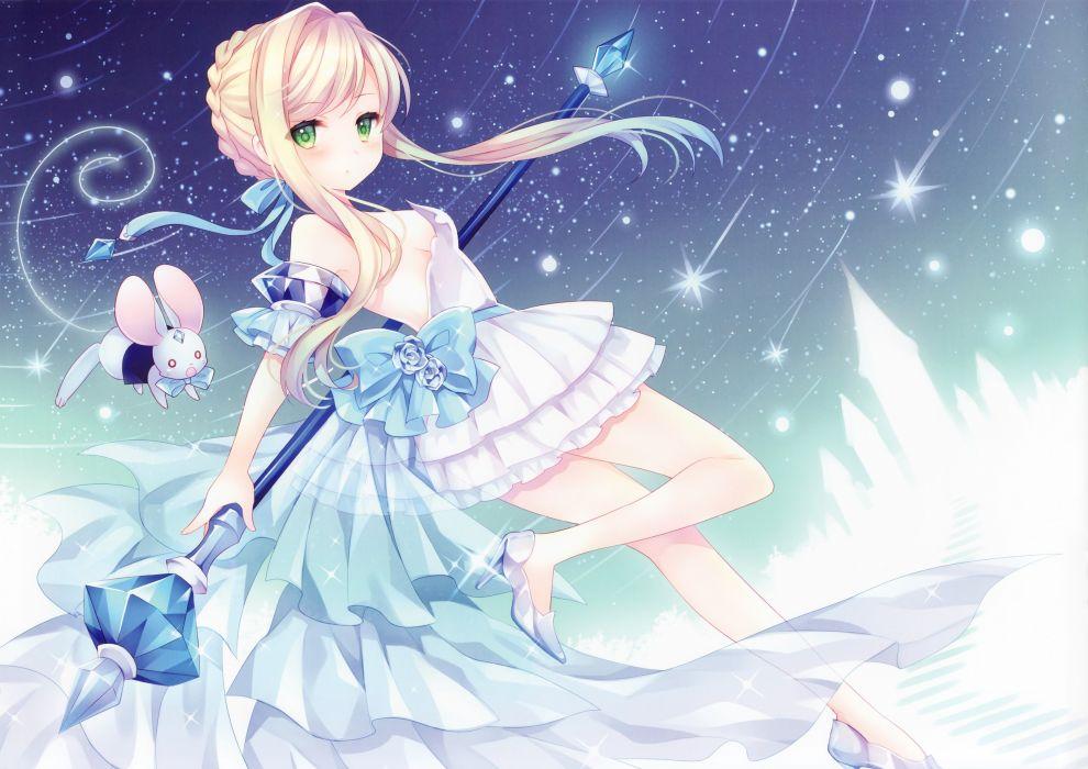 blonde hair bow cinderella cinderella (disney) dress green eyes ribbons scan staff wasabi (sekai) wallpaper