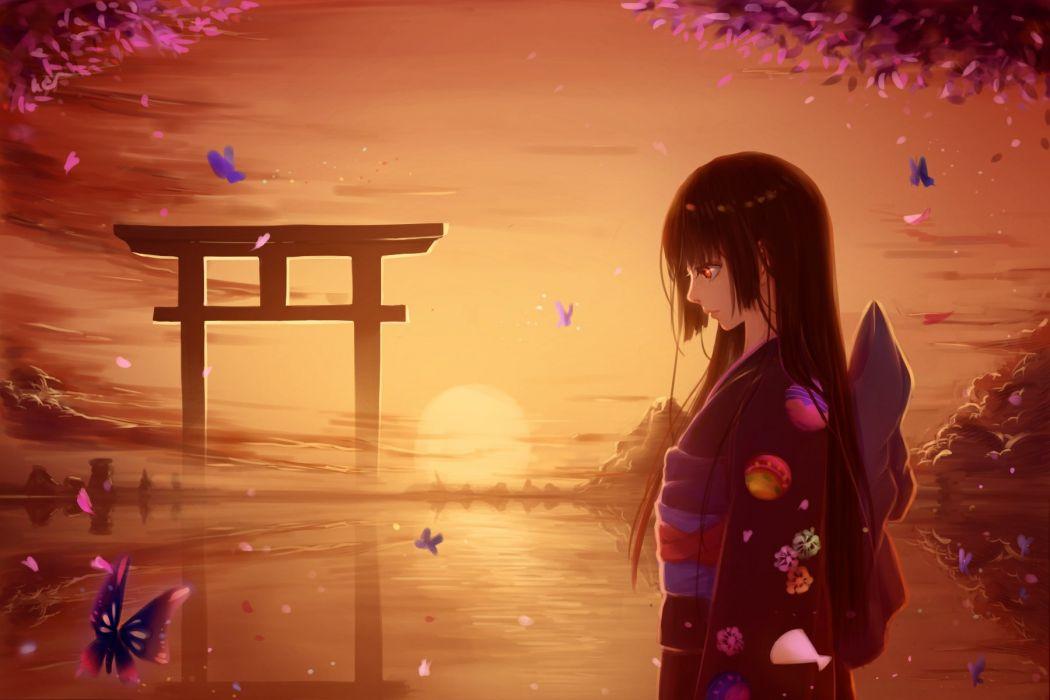 "black hair"" ""kimono"" ""long hair"" ""red eyes"" ""sky"" ""sunset"" ""water"" ""Hell Girl"" Characters: ""Enma Ai"" wallpaper"