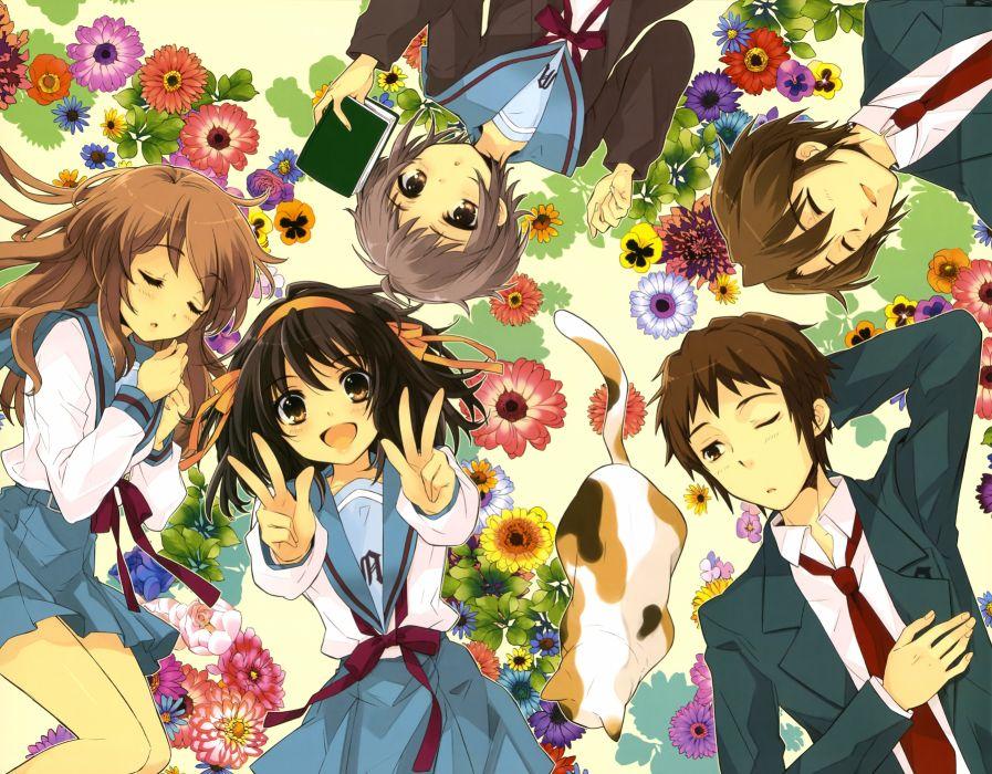 "blush"" ""book"" ""brown eyes"" ""brown hair"" ""flower"" ""grey hair"" ""group"" ""hair band"" ""happy"" ""long hair"" ""neko"" ""seifuku"" ""short hair"" wallpaper"