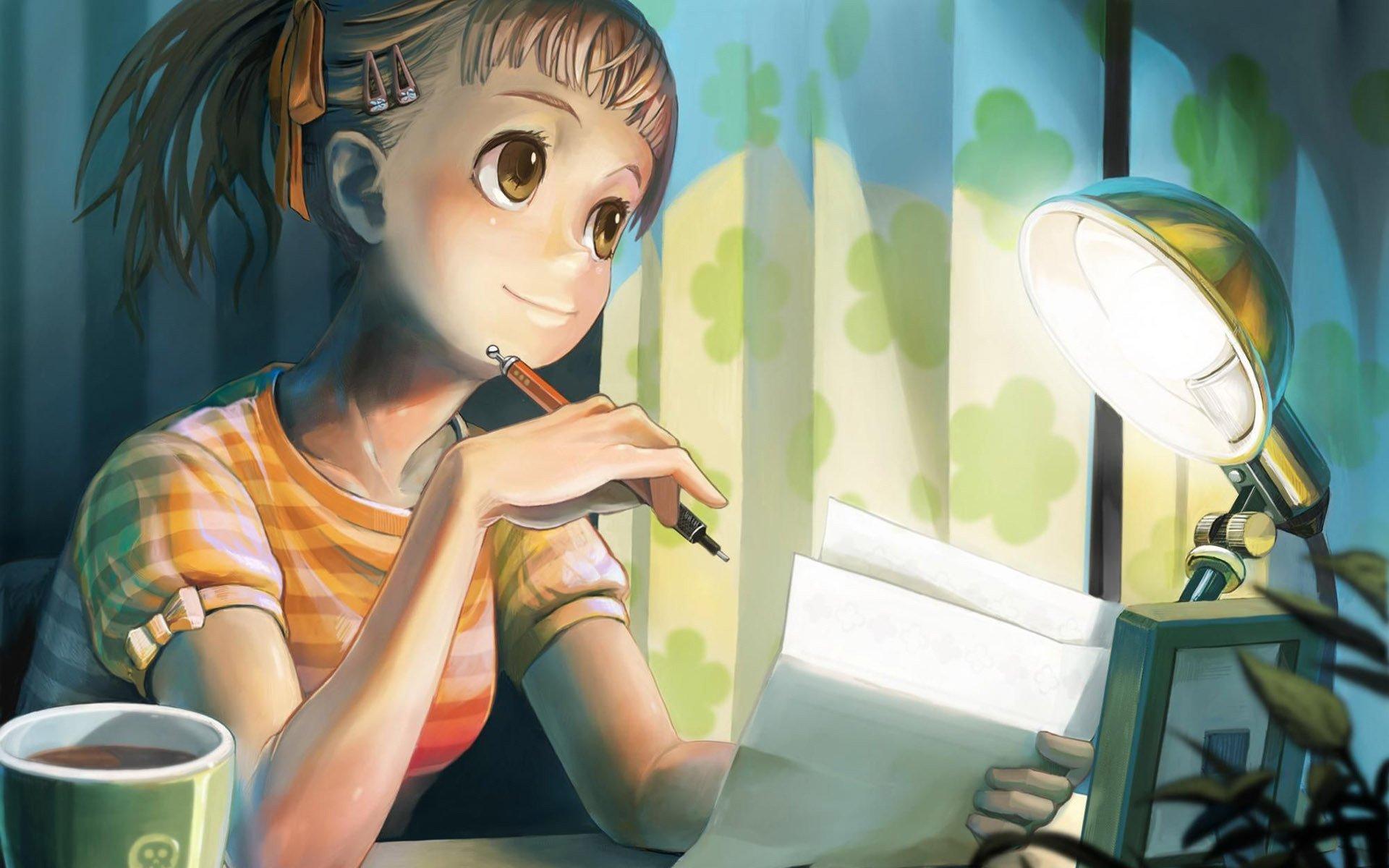 Girl writing a letter Anime Letter Memory wallpaper | 1920x1200 ...