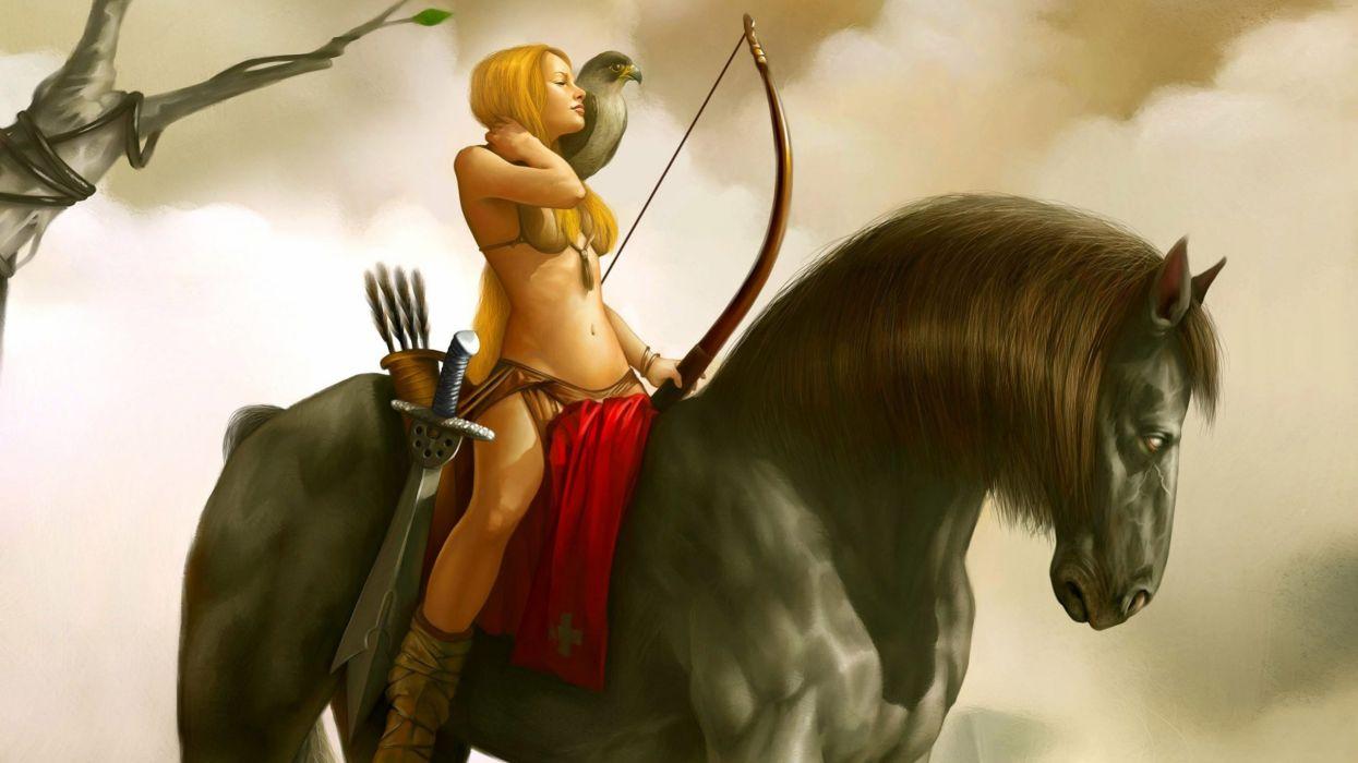 Archer girl on horse Fantasy Woman Horse Arch wallpaper