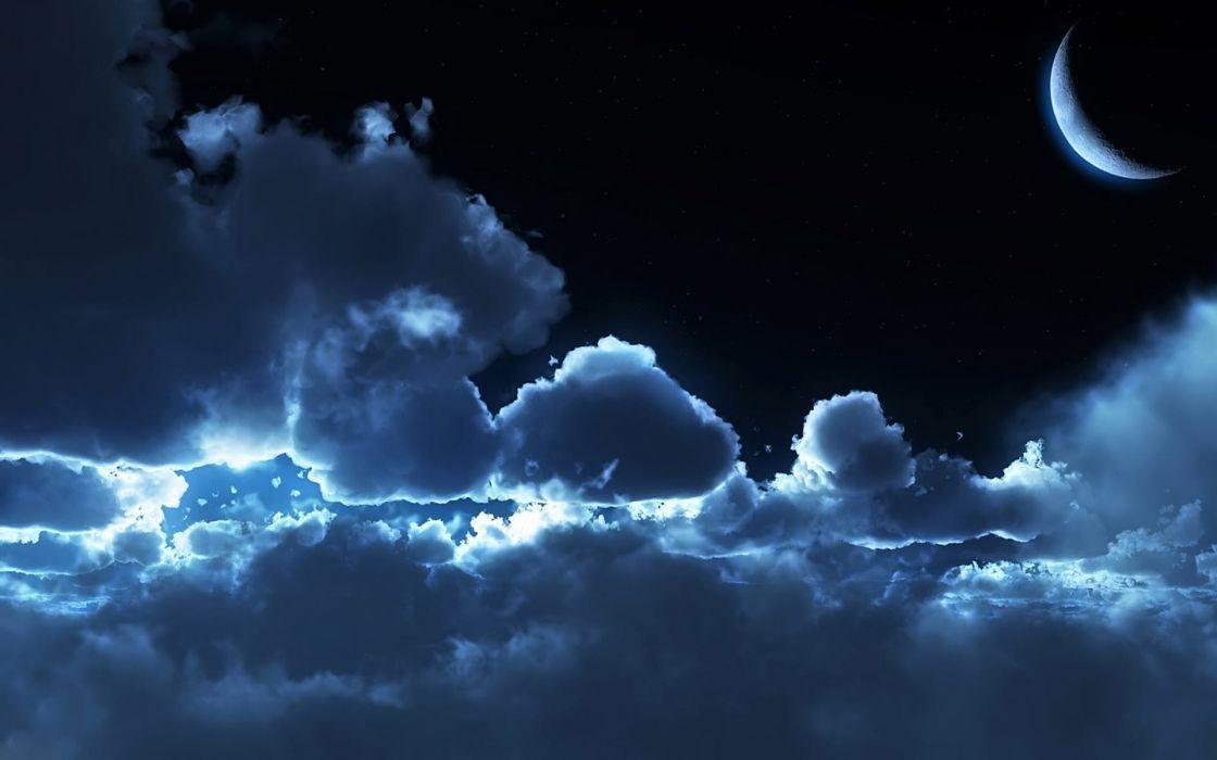 Fantasy Sky Cloud Moon Moonlight wallpaper