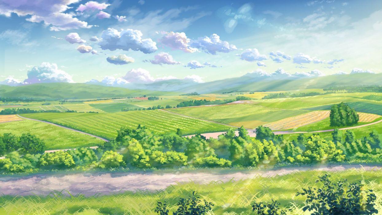 clouds grass landscape leaves nobody original scenic sky yuuko-san wallpaper