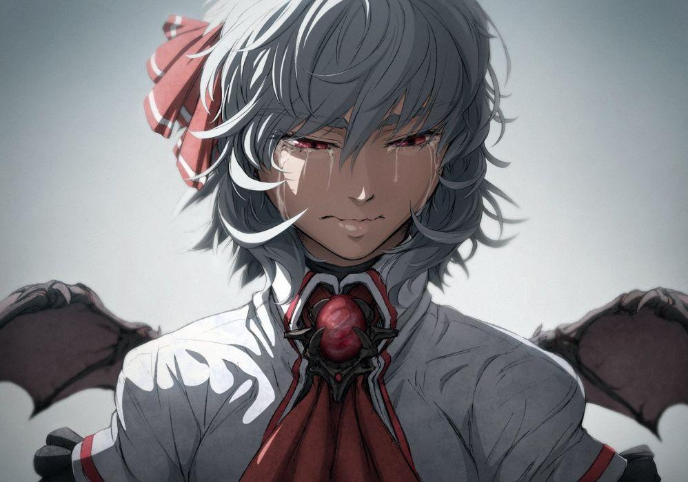 crying gray hair imizu (nitro unknown) red eyes remilia scarlet ribbons short hair tears touhou vampire wings wallpaper