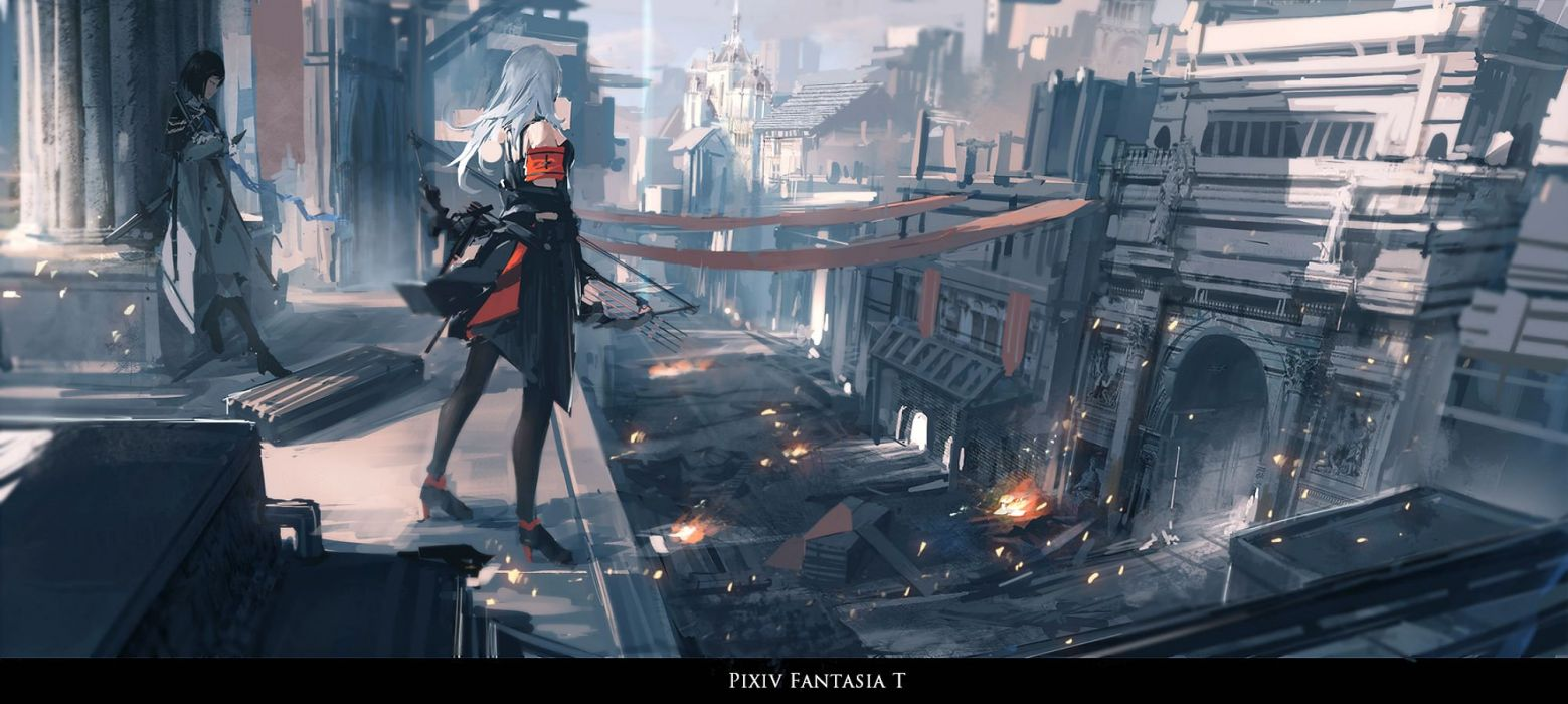 girls bow (weapon) building city fire katana long hair pixiv fantasia polychromatic renatus-z short hair sword weapon white hair wallpaper