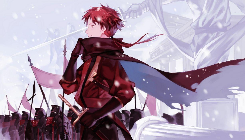 male armor cape joseph lee male pixiv fantasia ponytail red eyes red hair short hair sword weapon wallpaper