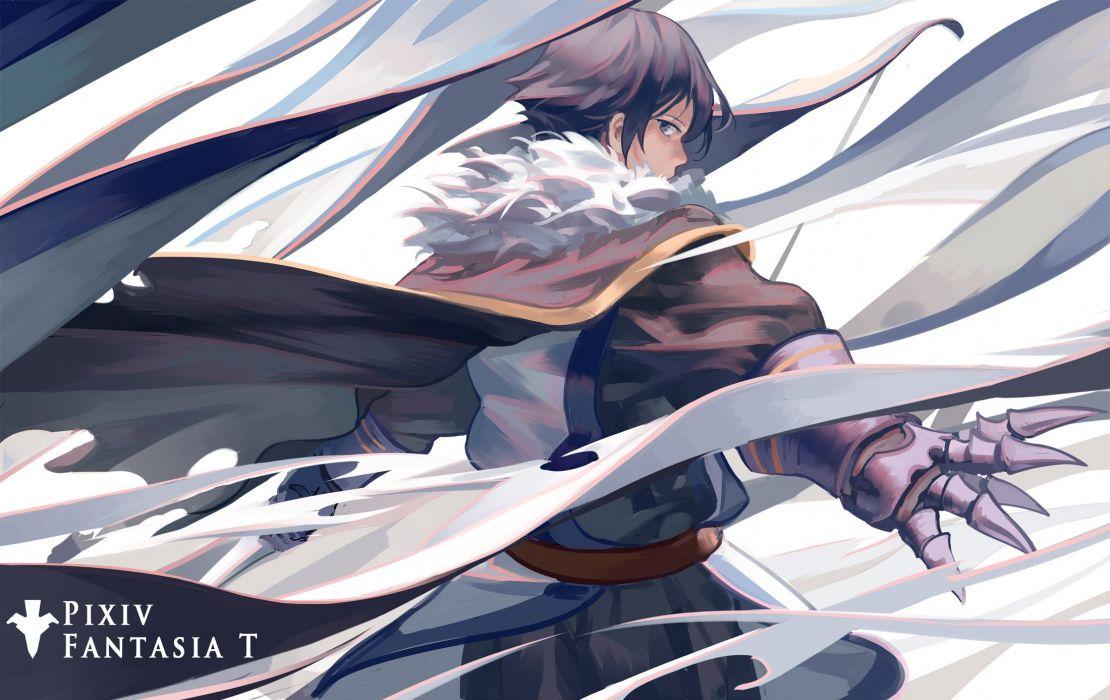 male armor brown hair cape male pixiv fantasia short hair zicai tang wallpaper