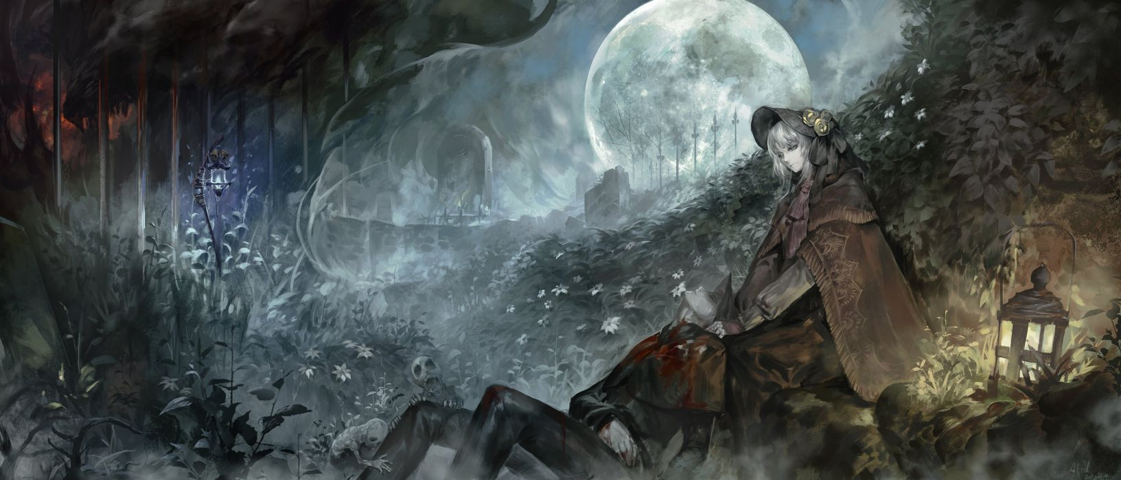 alcd blood bloodborne cape doll flowers gray hair hat landscape leaves male moon night polychromatic scenic skull the doll the hunter tree wallpaper