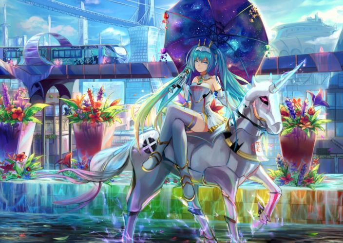 aqua eyes aqua hair boots crown flowers hatsune miku leaves long hair natsumoka twintails umbrella unicorn vocaloid wallpaper