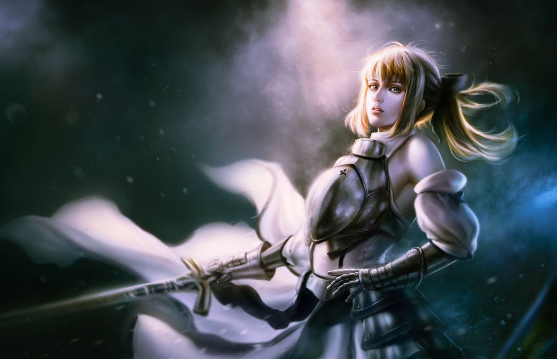 armor bita (vardec) blonde hair fate unlimited codes gloves green eyes long hair ponytail realistic saber lily sword weapon wallpaper