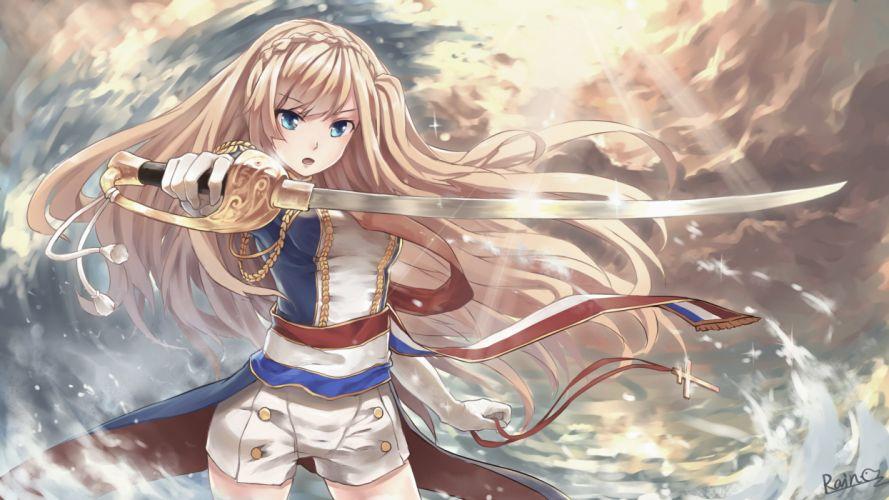 anthropomorphism blonde hair blue eyes braids elbow gloves rain- richelieu shorts sword uniform weapon zhanjian shaonu wallpaper