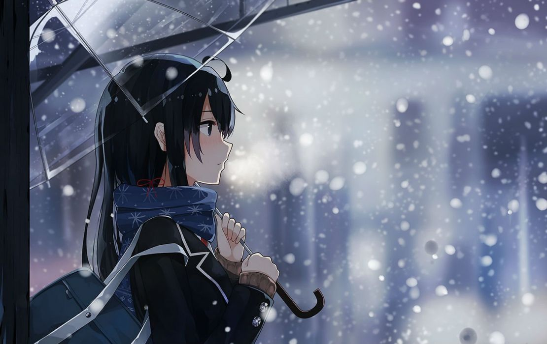 black hair blush levi9452 scarf seifuku snow umbrella winter yahari ore no seishun love come wa machigatteiru wallpaper