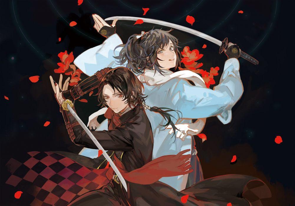 black hair ibaraki kashuu kiyomitsu katana male red eyes sword touken ranbu weapon yamato-no-kami yasusada wallpaper