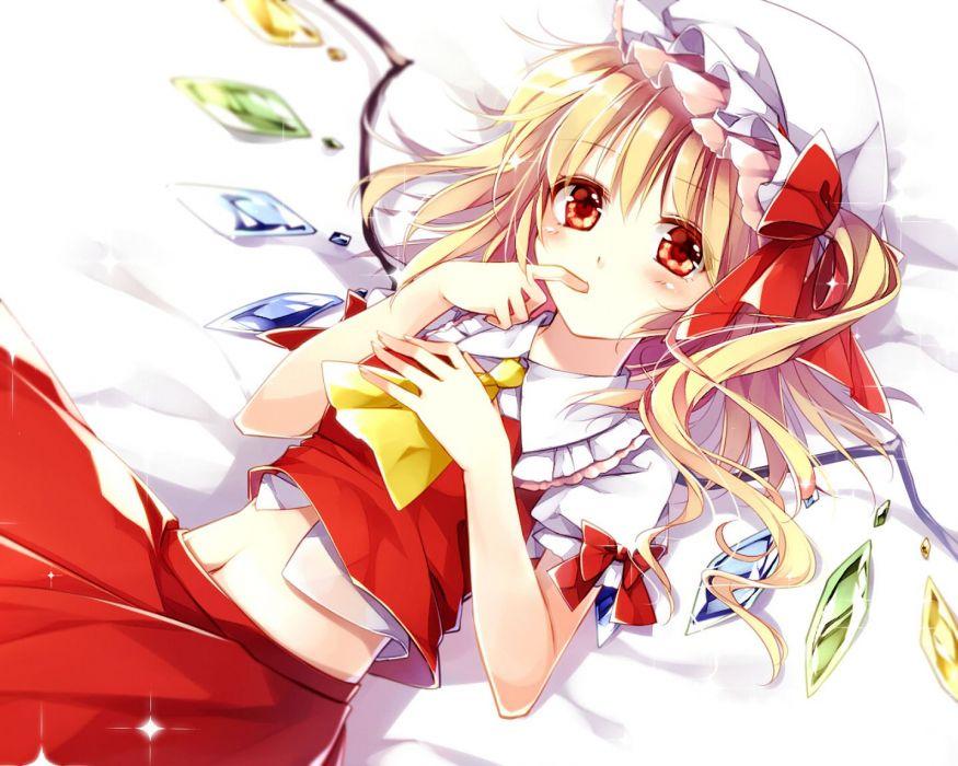 blonde hair flandre scarlet hat marimo moka navel red eyes skirt touhou wings wallpaper