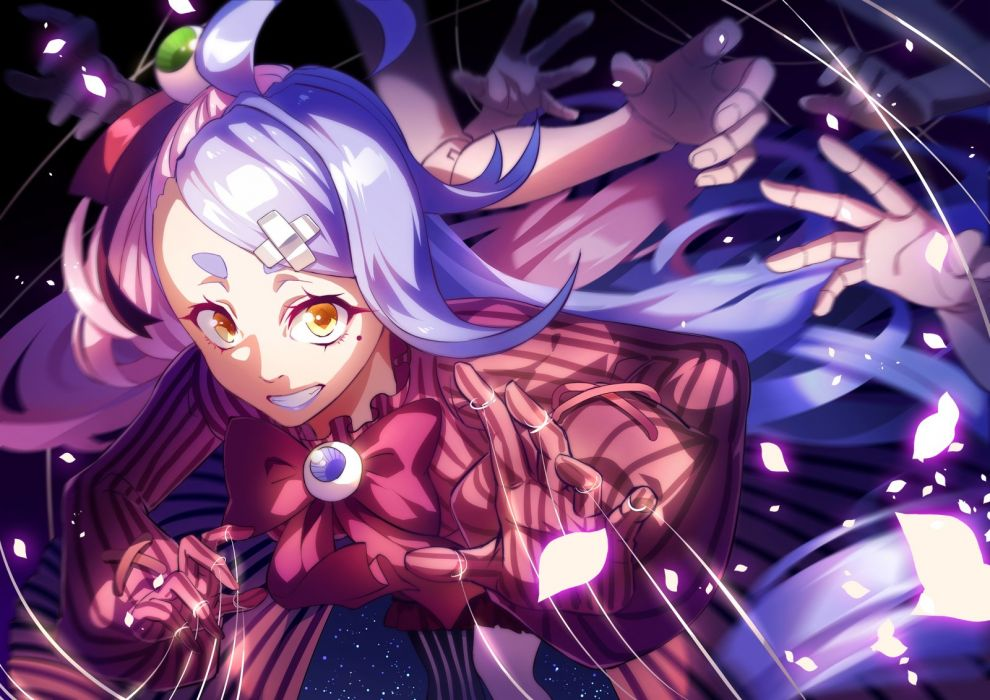 blue hair bow dress ego gloves long hair pixiv fantasia weapon yellow eyes wallpaper