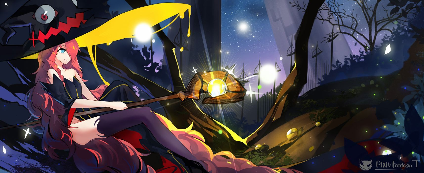 blue eyes hat long hair magic pixiv fantasia red hair staff stars thighhighs tsubasa19900920 witch hat wallpaper