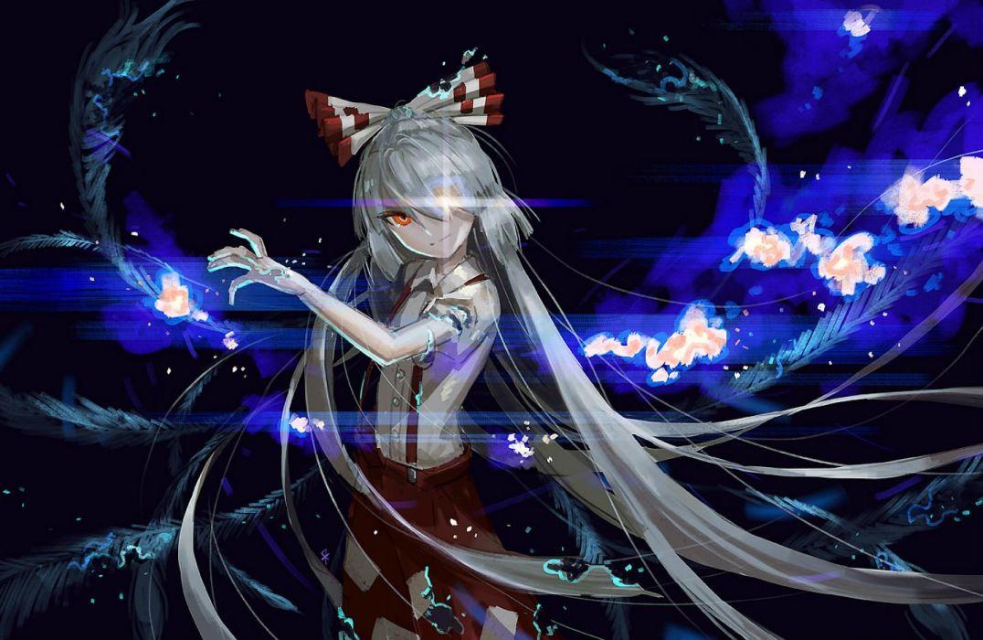 bow dark fujiwara no mokou gray hair long hair magic orange eyes seeker skirt touhou wallpaper