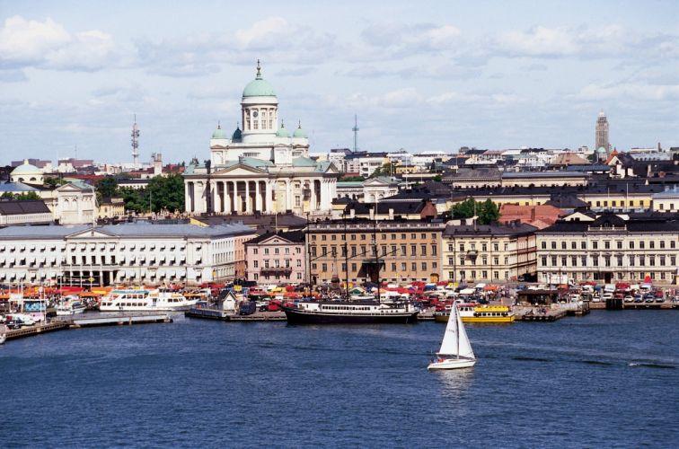 helsinki finlandia europa puerto mar edificios wallpaper