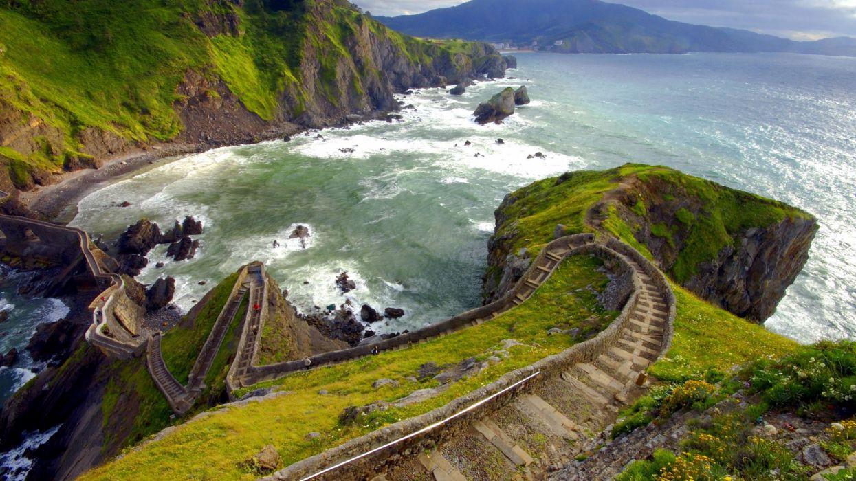 acantilado mar naturaleza paisajes wallpaper