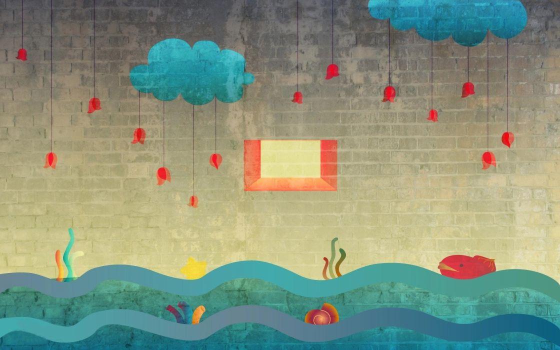 Vector Rain Cloud Sea wallpaper