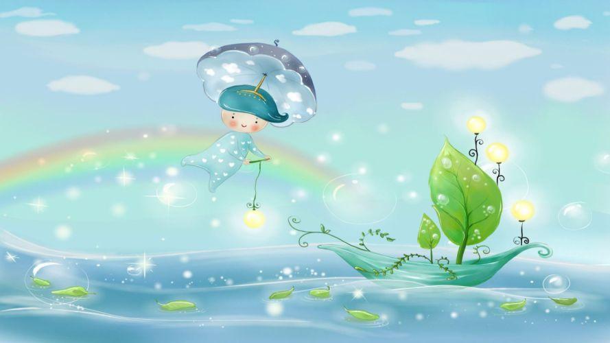 Digital Art Rainbow Boat Umbrella Leaf Child wallpaper