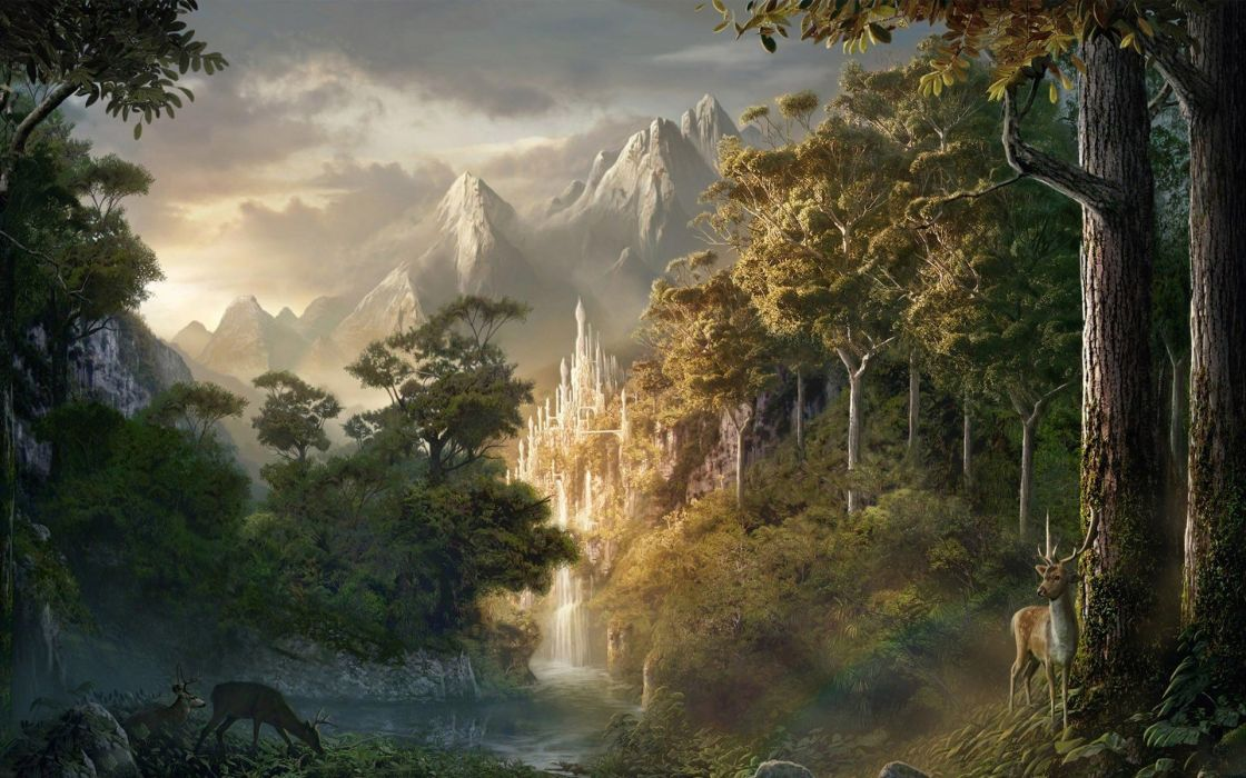Fantasy tree forest ice castle wallpaper 1920x1200 671666 wallpaperup - Fantasy background ...