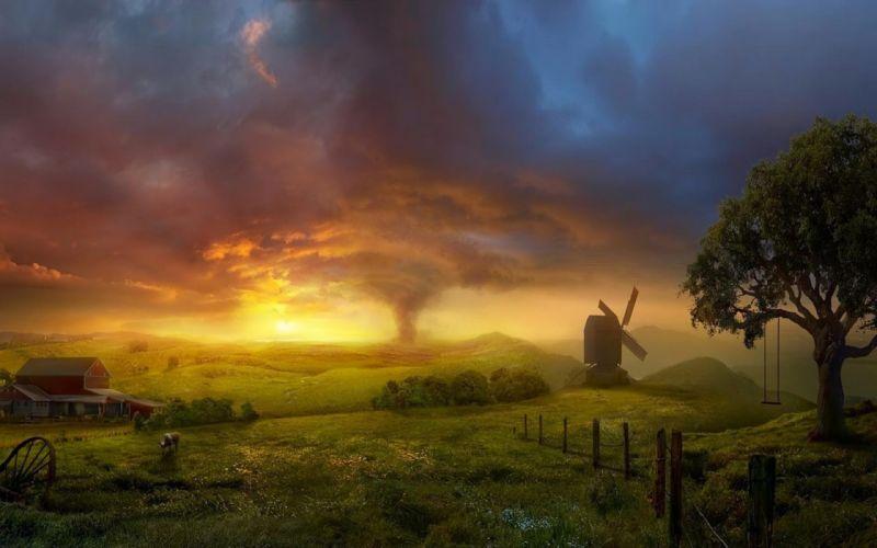 Fantasy Sky Tree Grass Field Tornado Windmill wallpaper