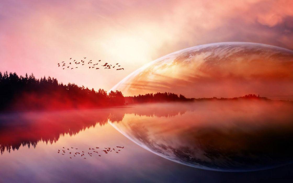 Fantasy Sky Bird Sunset Planet Lake wallpaper